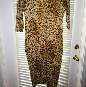 Body con dress leopard print sz L*like new*